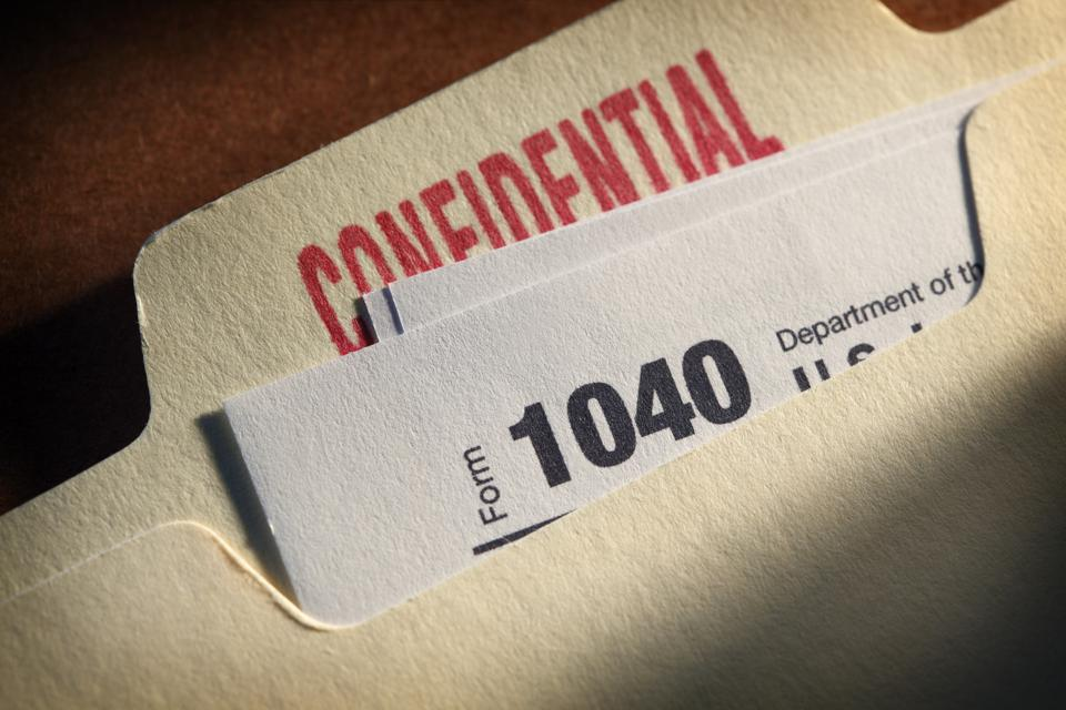 IRS Form 1040 Inside A Confidential File Folder