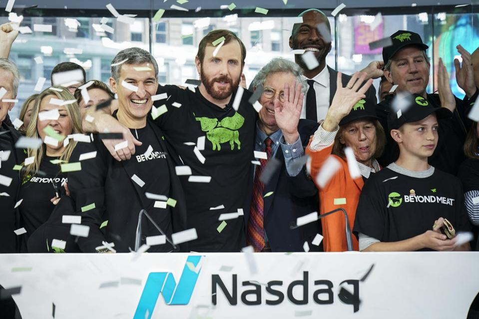 When Beyond Meat debuted on Nasdaq in May 2019, it was valued at $1.5 billion. Founder and CEO Ethan Brown (center) has led the food company to a market cap of $7.8 billion.