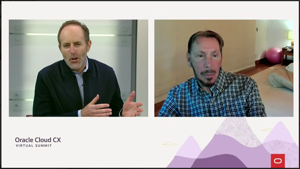 Rob Tarkoff, left, the executive vice president who leads Oracle's cloud customer experience business, talks with Oracle Chairman and CTO Larry Ellison about the changing role of sales software.