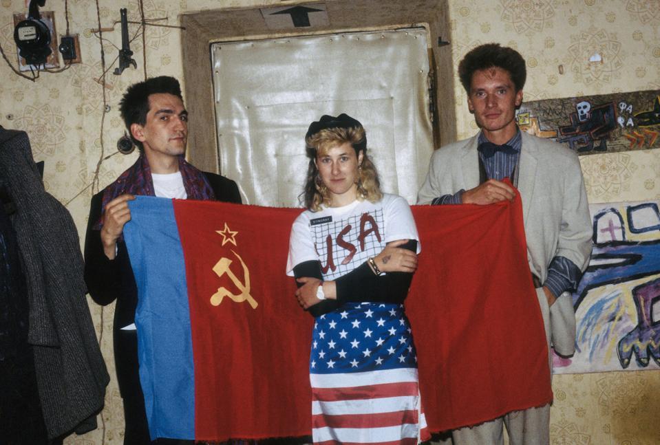 Timur Novikov, Joanna Stingray and Gustav Gurianov 1985