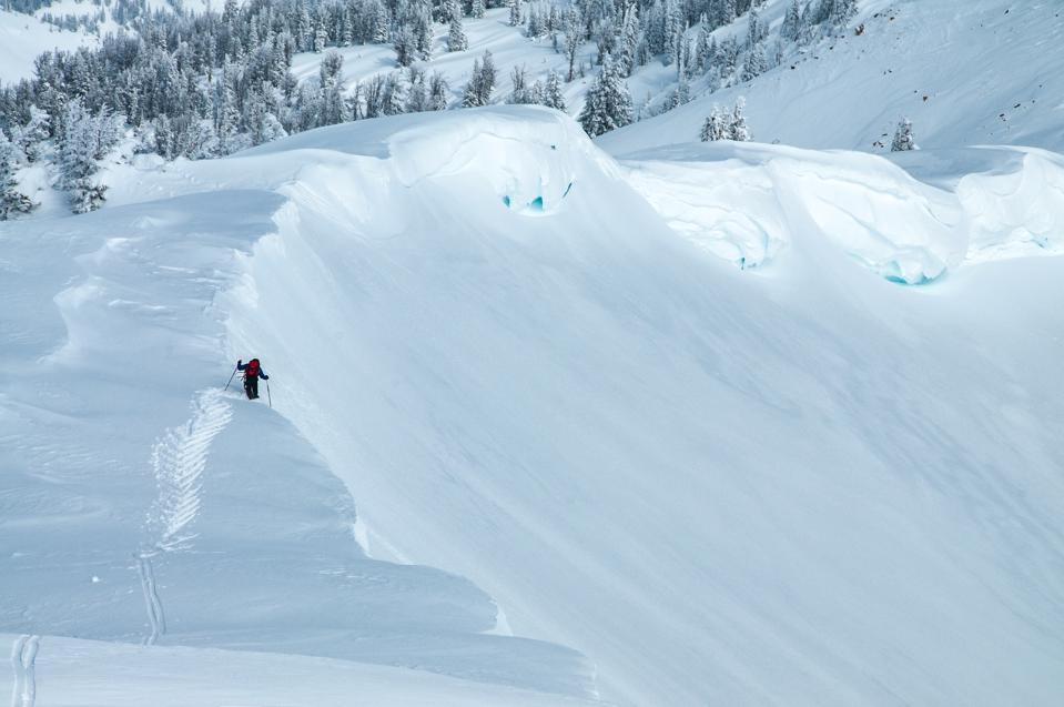 A backcountry skier near Jackson Hole, Wyo.