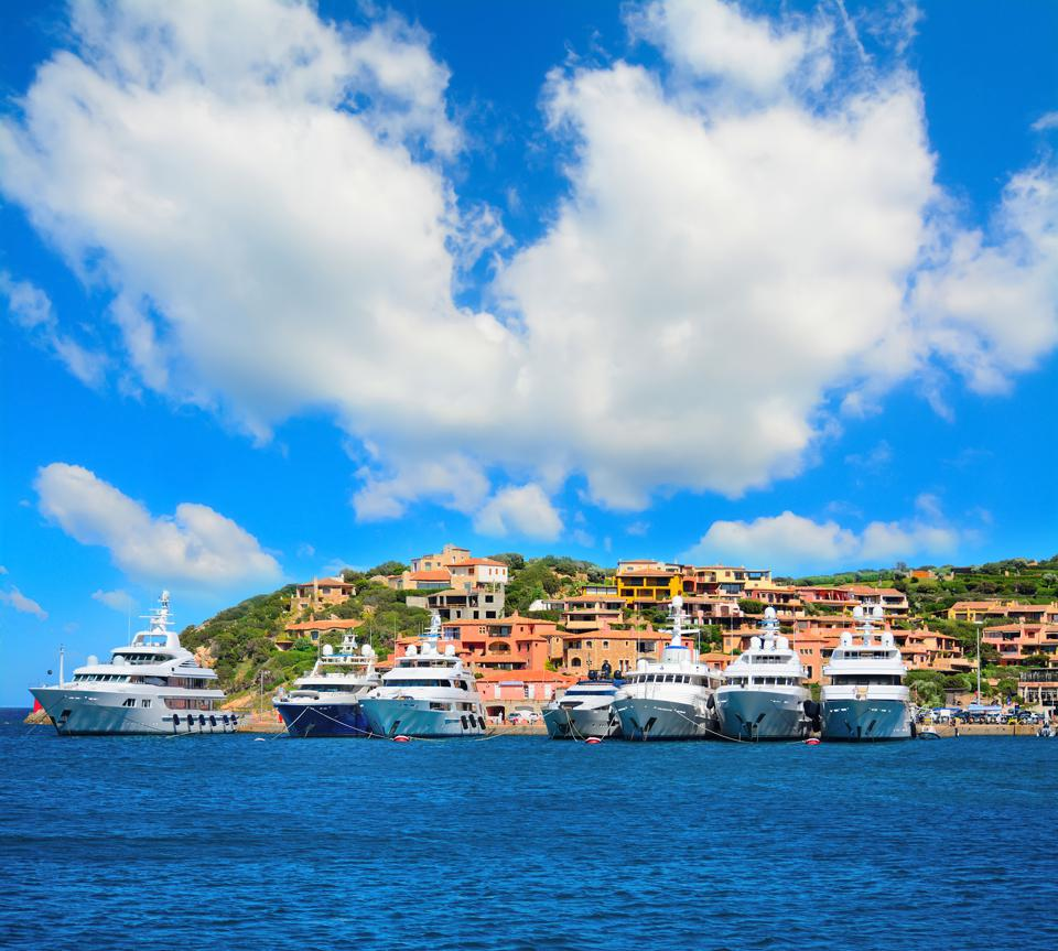luxury yachts in Porto Cervo coastline