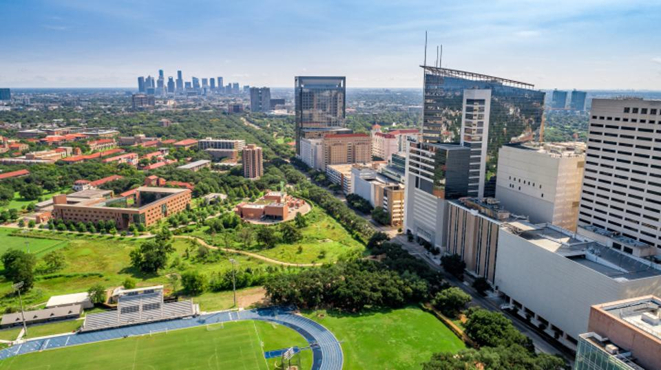 Aerial view of the Texas Medical Center in Houston.