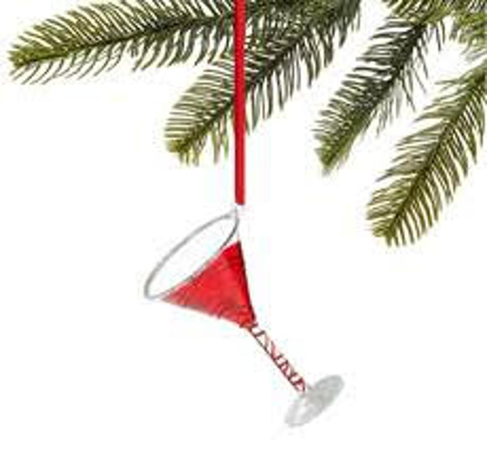 Macy's Peppermint Twist Red Martini Ornament