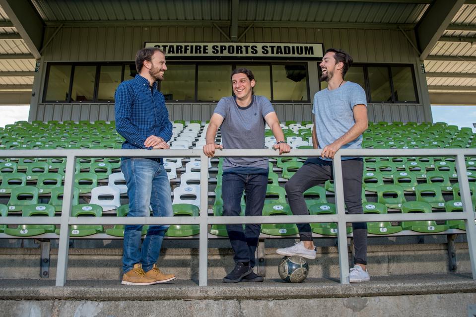 Image of Bruno Dagnino, Ruben Saavedra and Enzo Angilletta, Metria Sports co-founders.