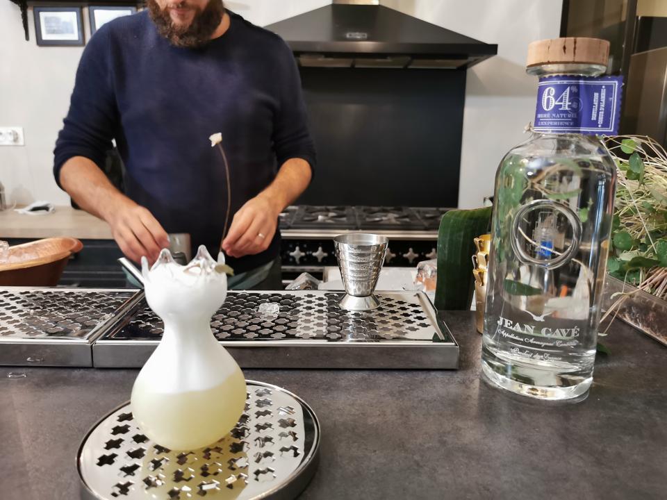 Fleurs Électriques, an Armagnac cocktail prepared by Nicholas Blanchard at Jean Cavé