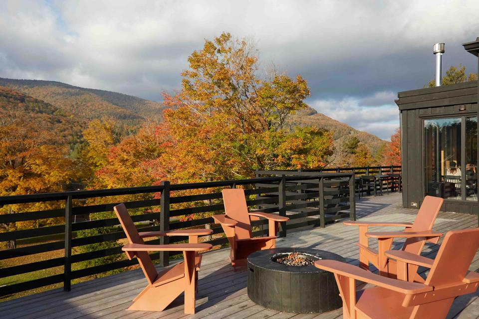The private deck outside each room is a perfect spot to enjoy beautiful views of the surroundings.
