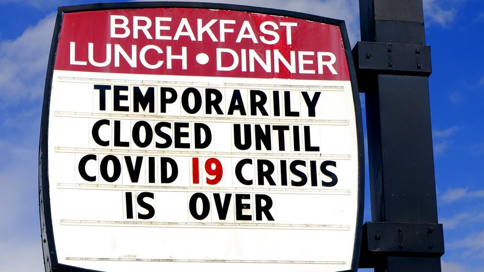 Diner restaurant closed sign for Covid 19 crisis Corona Virus Covid19 C19 is over
