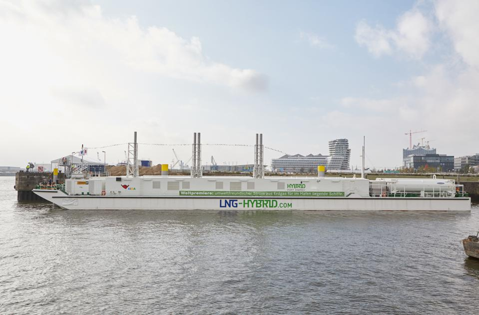Europe and China have been leading the transformation of the maritime fleet toward green power technologies.  Seen here, a LNG Hybrid Barge in Hamburg, Germany.