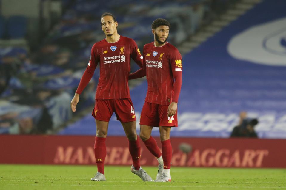Virgil van Dijk and Joe Gomez of Liverpool FC