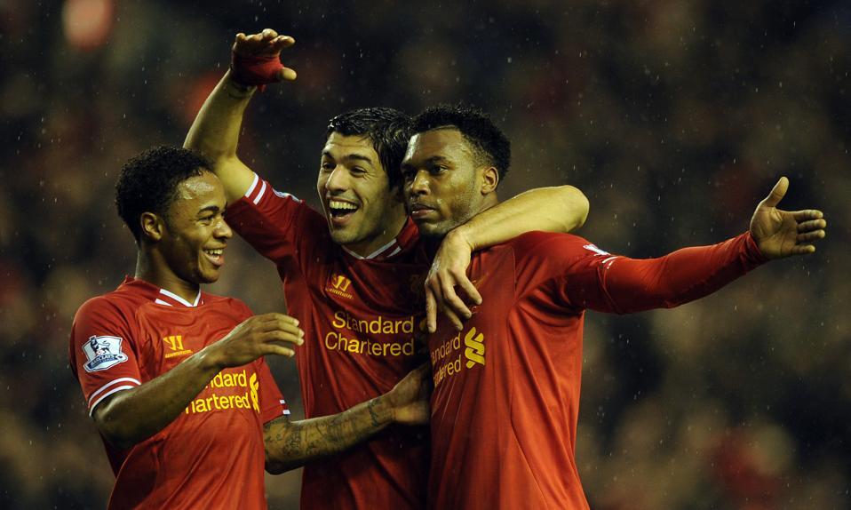 Liverpool's 2013/14 strikeforce of Daniel Sturridge, Raheem Sterling and Luis Suarez