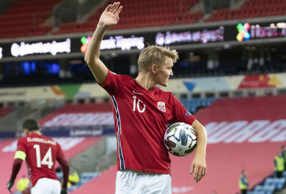 Norway' Martin Ødegaard playing in a Norway v Northern Ireland soccer match.