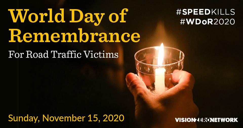 A graphic for the annual World Day of Remembrance for Road Traffic Victims.