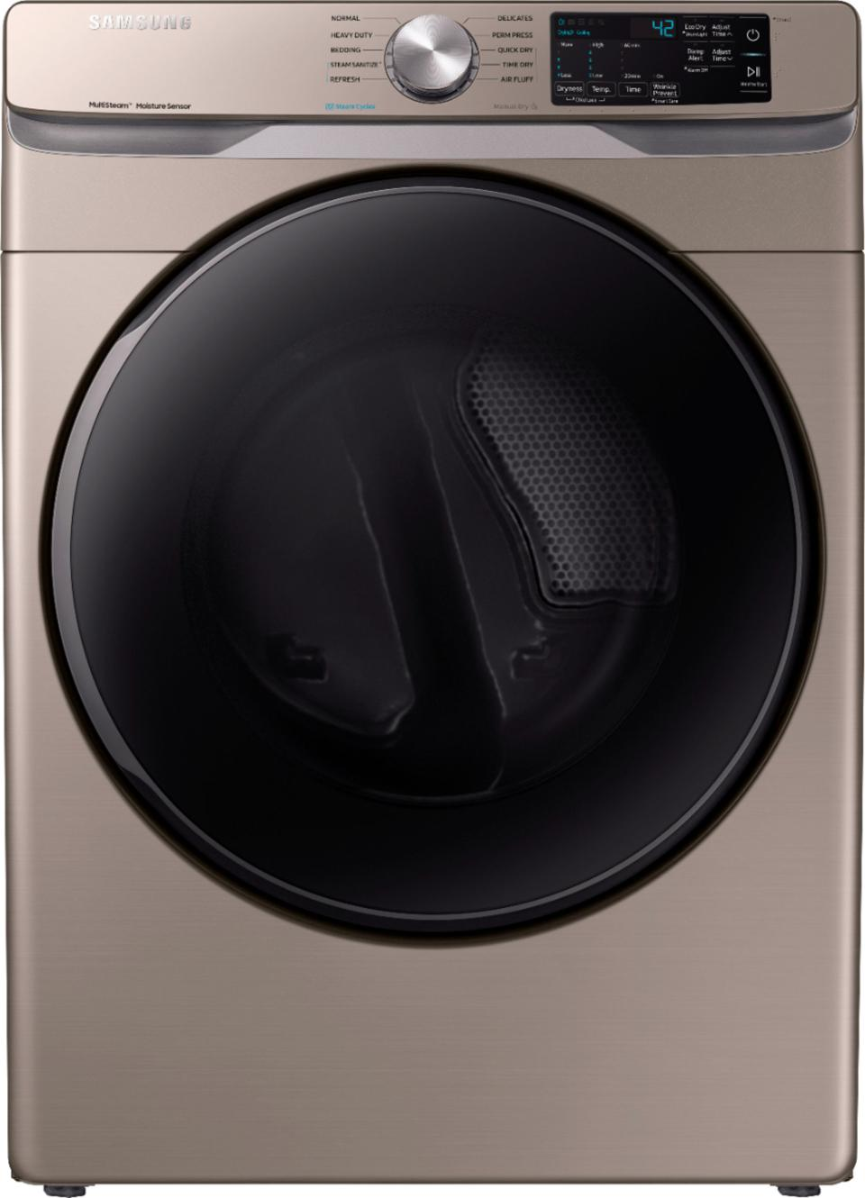 Samsung - 7.5 Cu. Ft. 10-Cycle Electric Dryer with Steam - Champagne