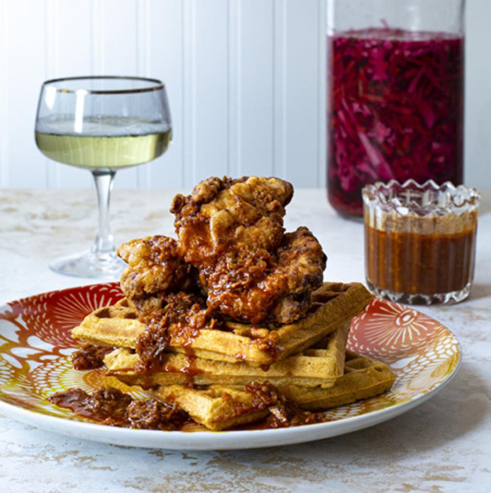 Fried chicken and waffles with piri piri glaze from The Rise by Marcus Samuelsson