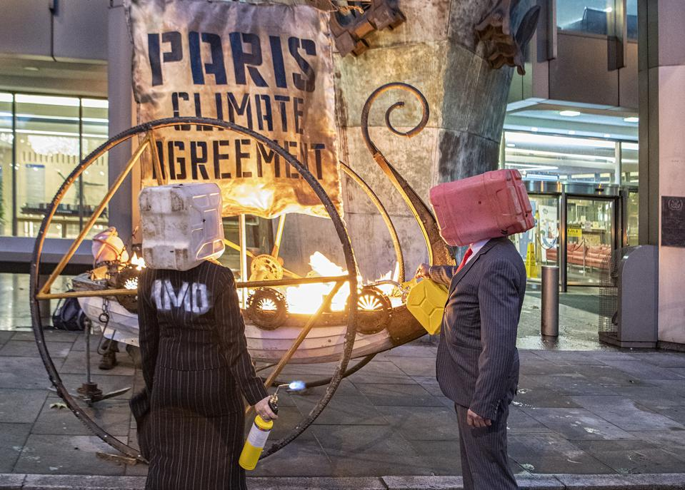 15 Nov 2020: Protests outside the UN IMO London Headquarters on Sunday, ahead of key climate commitments. Protests show a symbolic Viking burial of the Paris Climate Agreement