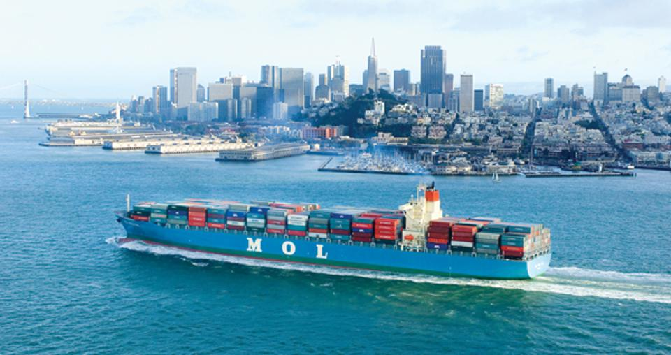 Japanese shipping company MOL is the world's second largest shipping lines.  Seen here entering San Francisco Bay