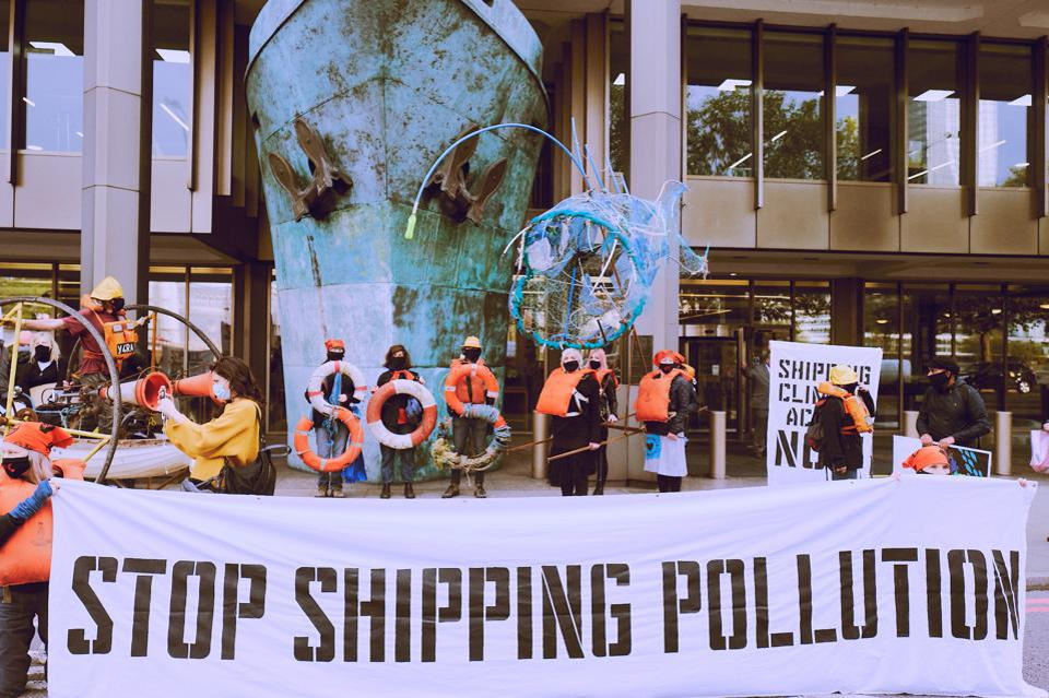 19 Oct 2020: Protests outside IMO where crunch negotiations on global shipping's climate emission targets for the next decade are happening.