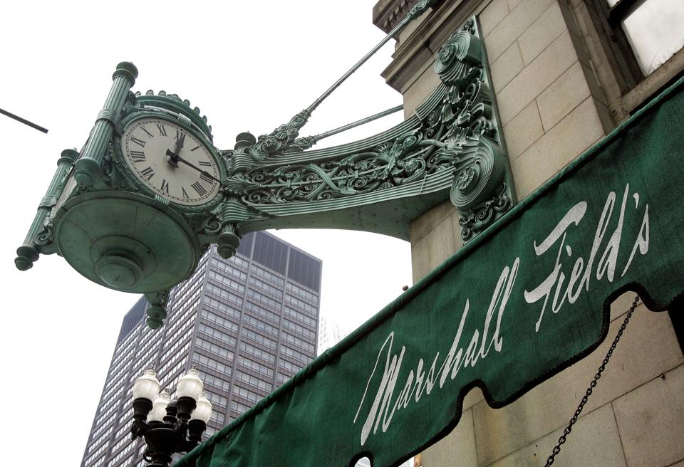 The clock is still there but Marshall Field's is now Macy's.