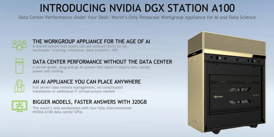 Figure 3: The new NVIDIA DGX STatrion A100 for AI and HPC workgroups supports four A100 80GB GPUs.