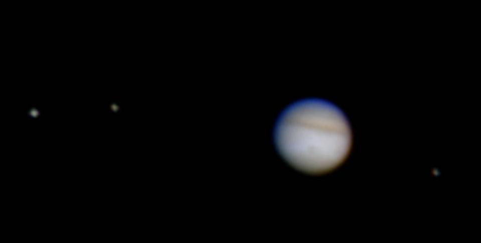 This is about how Jupiter looks in a modest-sized amateur telescope.