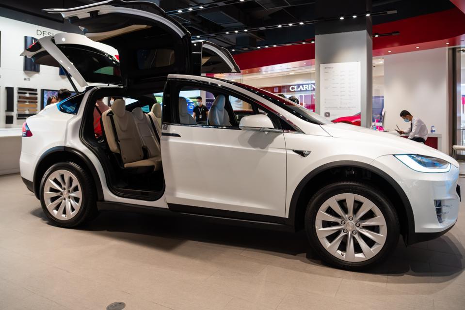 Tesla Model X electric vehicle seen at their showroom...