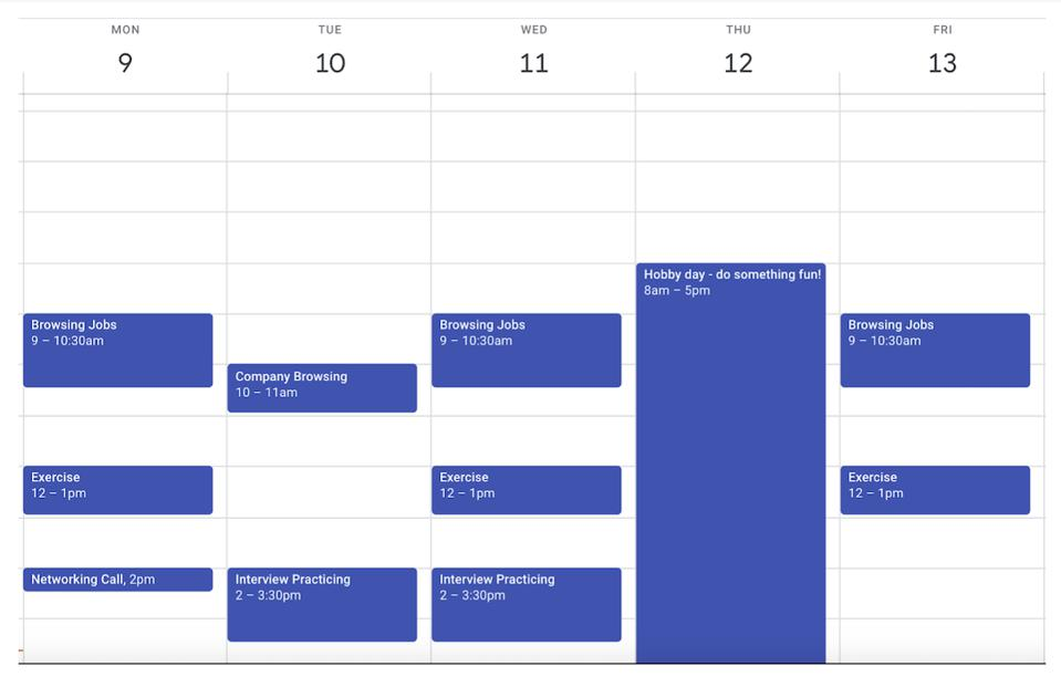 Google calendar showing an example of a job search weekly plan