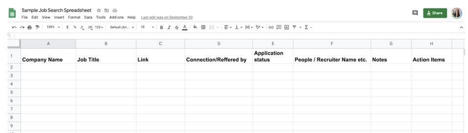 Sample job search spreadsheet