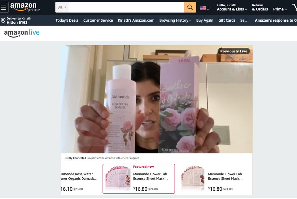 Screenshot of Amazon Live video featuring Beauty influencer Lara Eurdolian. Eurdolian is demonstrating products from Mamonde, a brand of Amorepacific US.