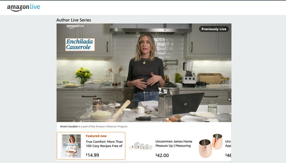 TV personality Kristen Cavallari livestreams a cooking demonstration on Amazon Live, featuring her recipe book and products from her homewares brand, Uncommon James.