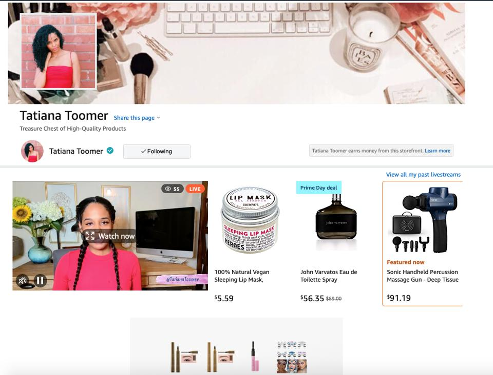 The Amazon.com storefront page for beauty influencer Tatiana Toomer, showing Toomer's current and recent livestream sessions, and favorite products, from which she earns an affiliate commission on eligible purchases.