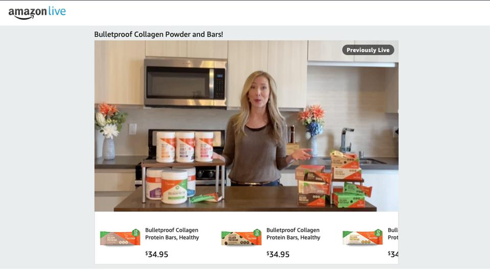 Health food and supplement brand Bulletproof featured products in their Prime Day 2020 livestream that carried discounts using coupons, rather than Prime Exclusive Deals.