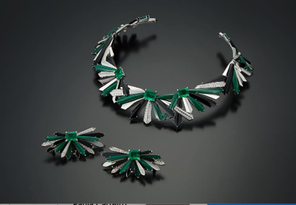 Colette uses malachite, onyx, and diamond to highlight the gorgeous green emeralds