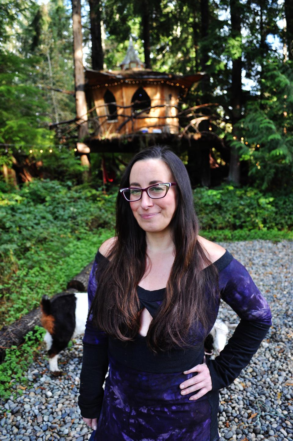 Tracy Rice, founder of Mountain Views Tree House Joint, in Monroe, Washington.