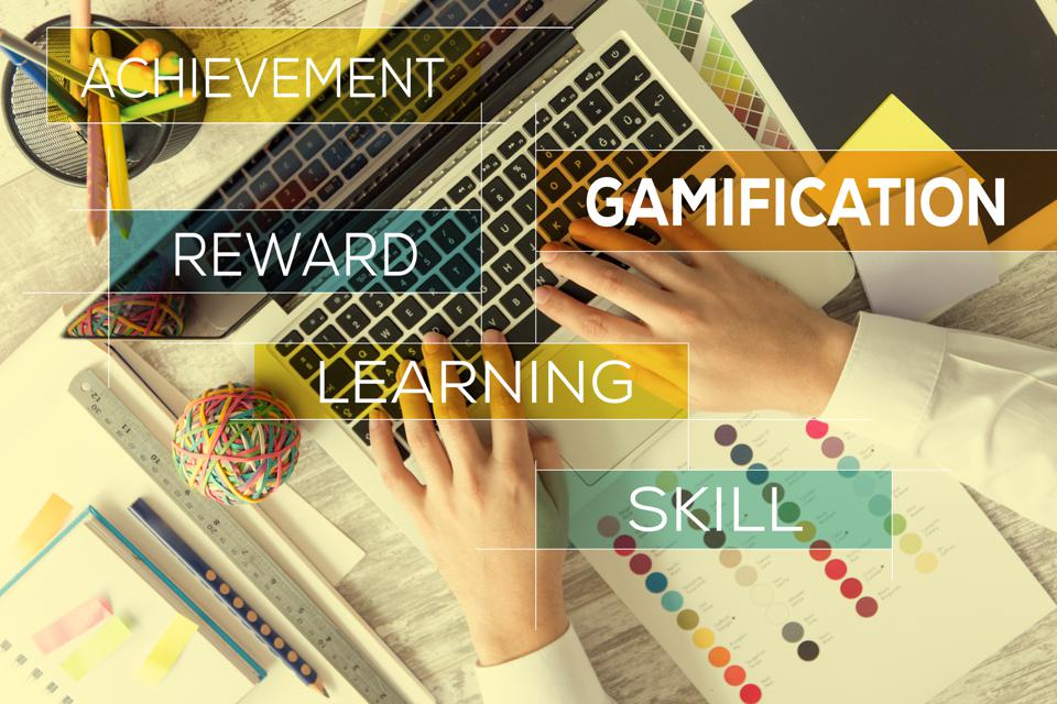 Gamification concept featuring terms ″achievement, gamification, reward, learning, skill″