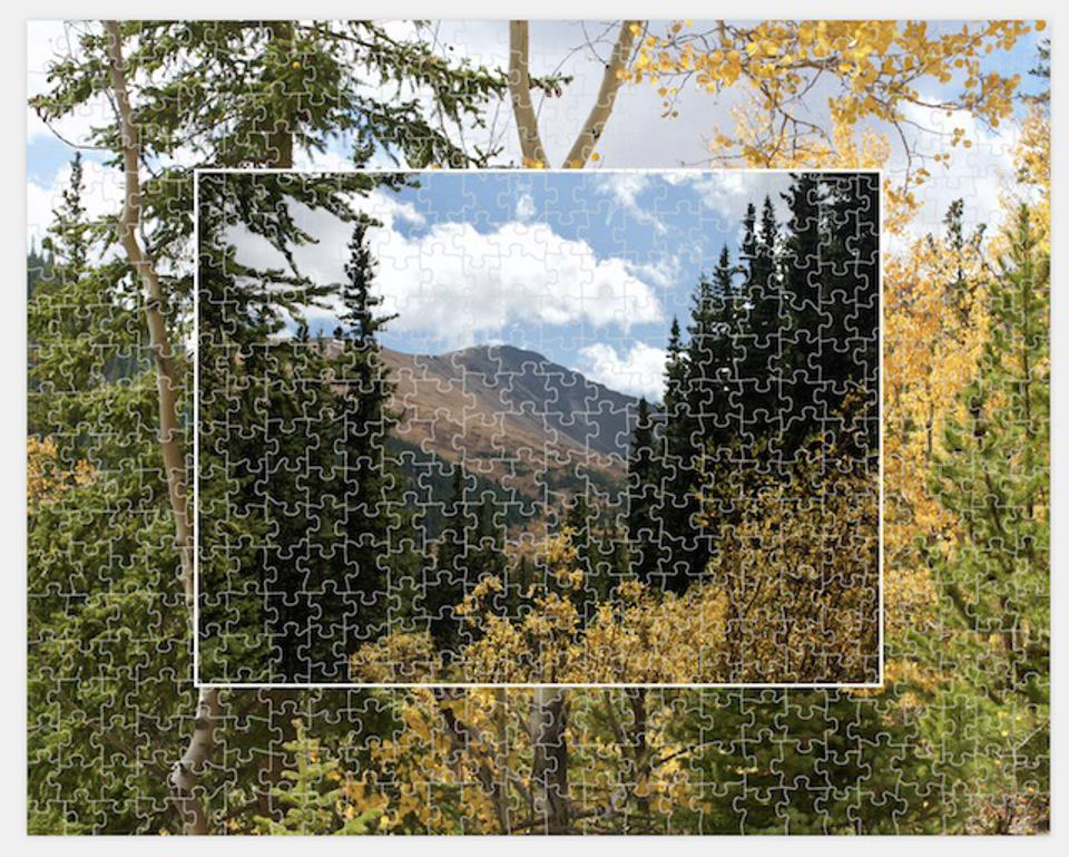A puzzle from a photo of Roosevelt National Forest in Colorado