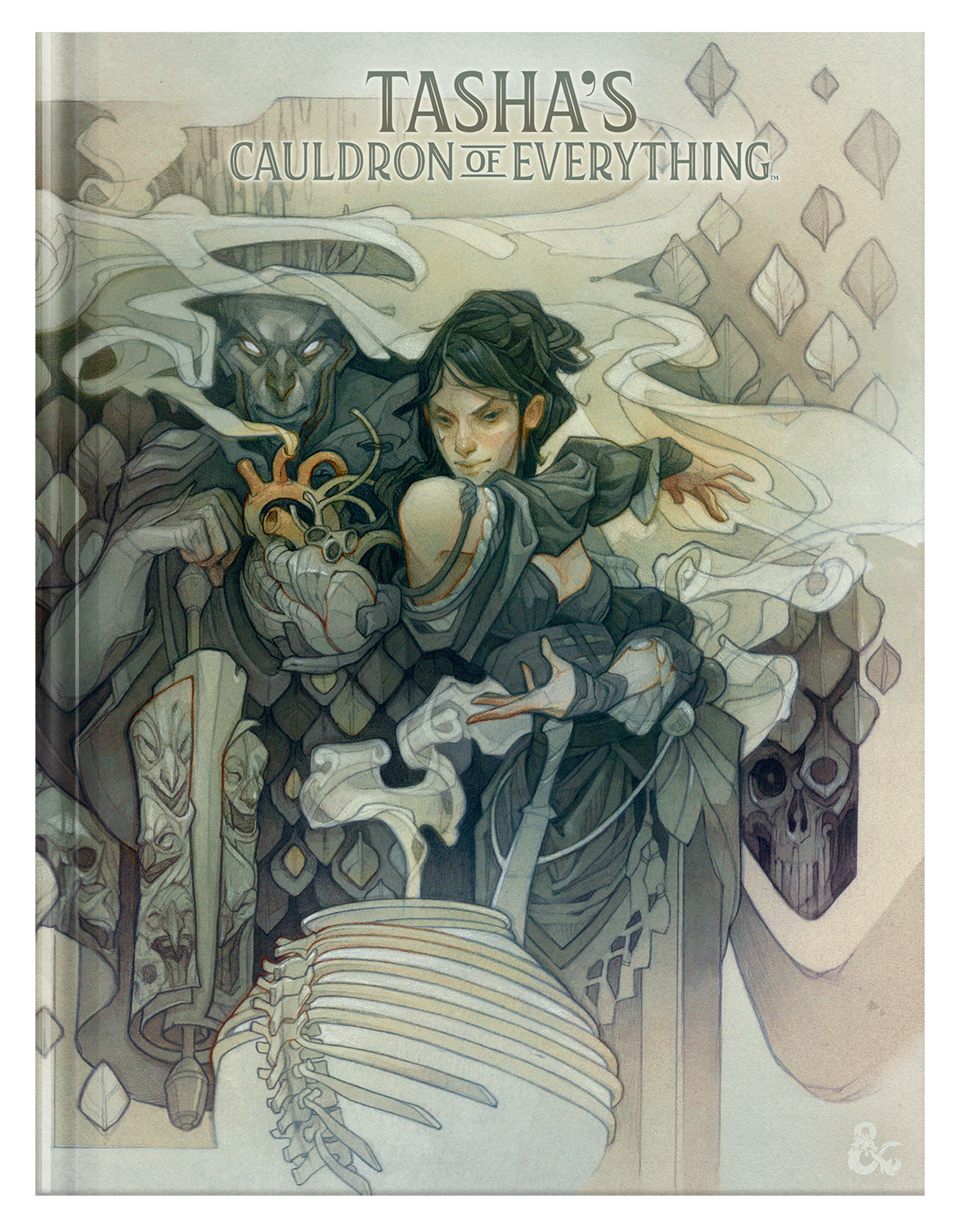 The alternate art cover of Tasha's Couldron of Everything.