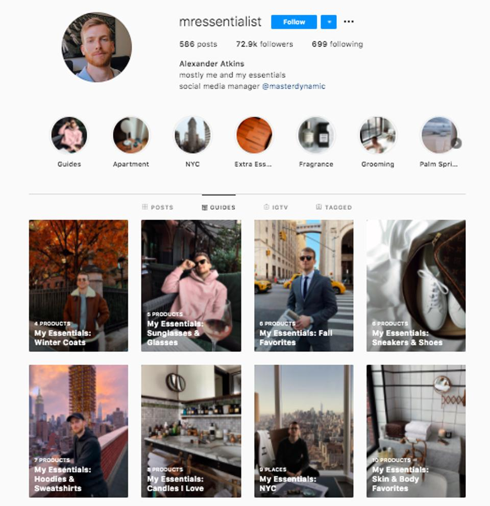 Screenshot of @mressentialist's profile and stylish Instagram guides.