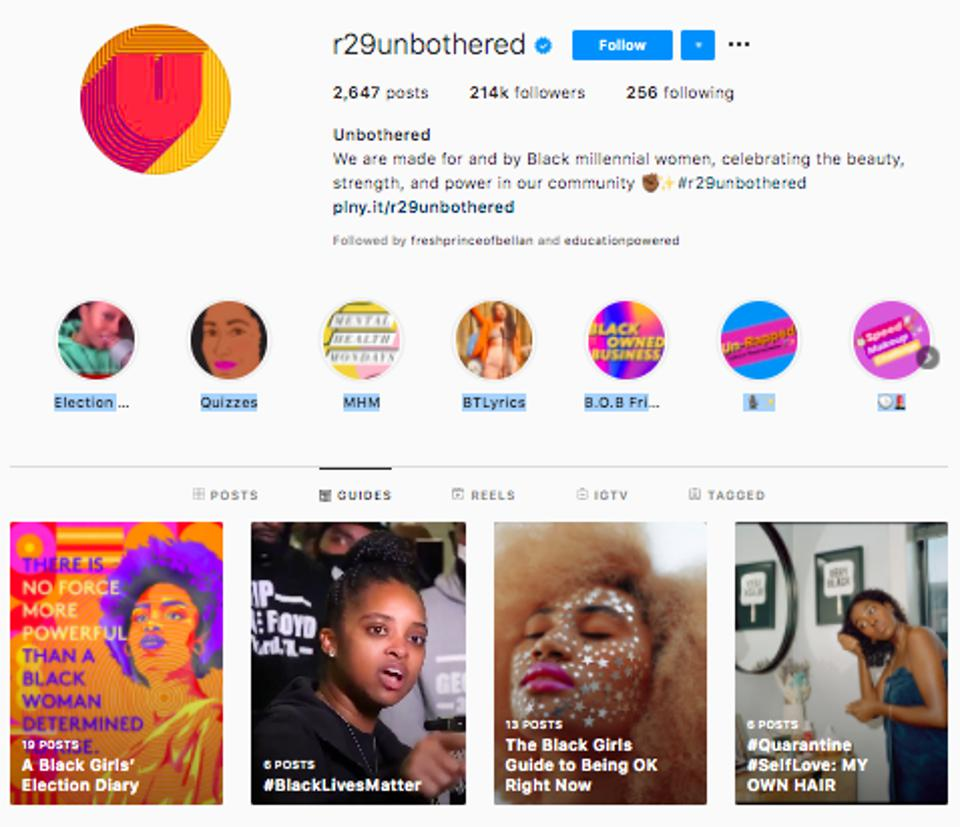 Screenshot of Instagram profile and instructions for mental wellbeing in black women.