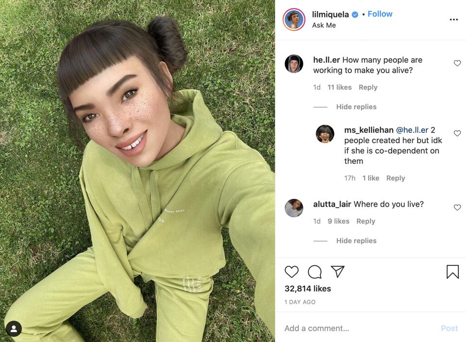 Girl taking a selfie wearing green in a grass field