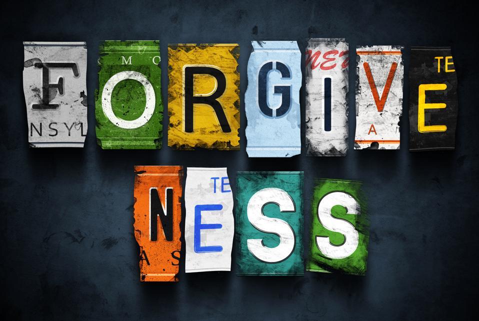 Forgiveness word on vintage broken car license plates
