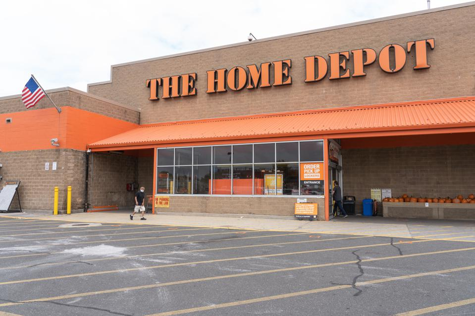 The Home Depot logo and store seen in Queens Borough of New...