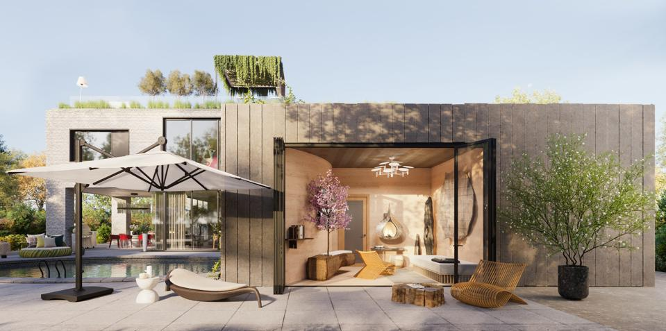 Rendering of a showcase home exterior for Architectural Digest's The Iconic Home.