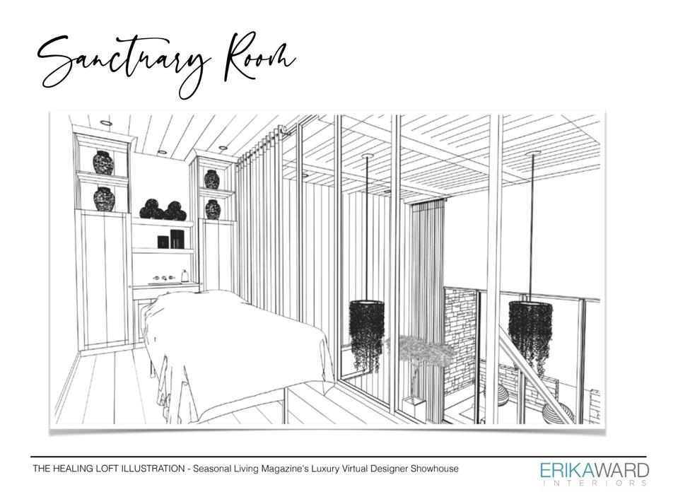 Illustration of a wellness space for a virtual showcase home.