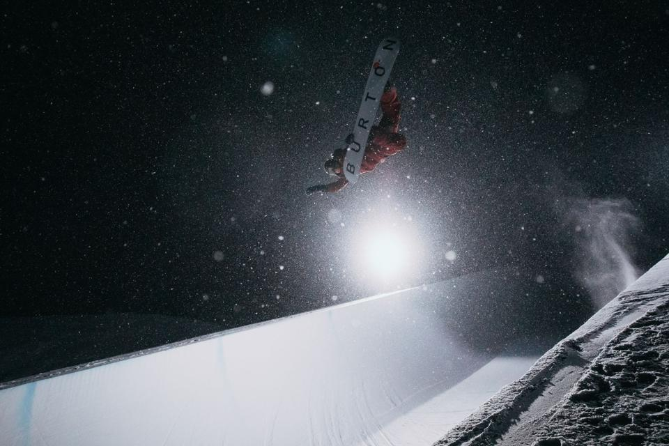 Christian Haller in a halfpipe in Vail, Colorado, for Burton snowboarding film One World