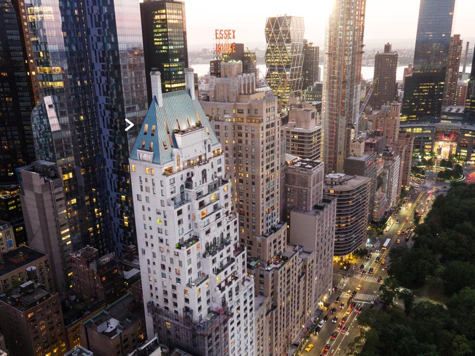 An aerial view of Central Park South in Manhattan.