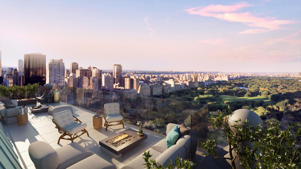 A terrace overlooking Central Park in Manhattan.