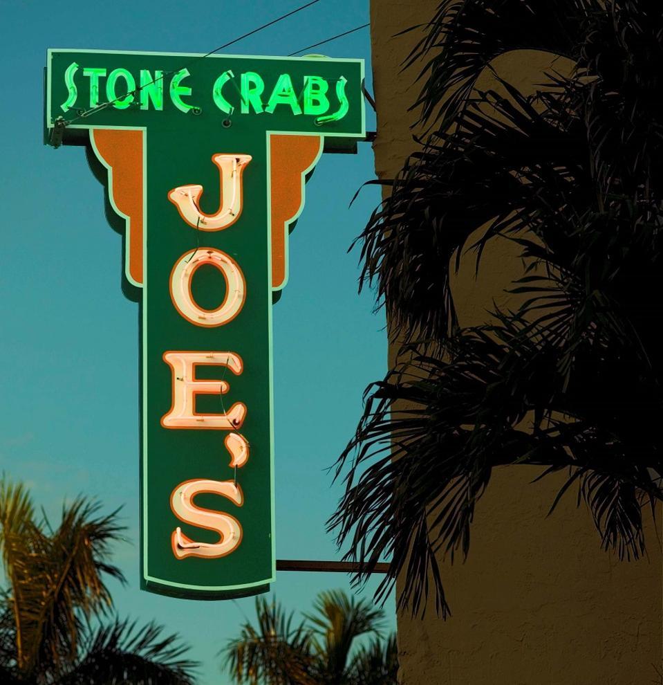 Joe's Stone Crab vintage neon sign