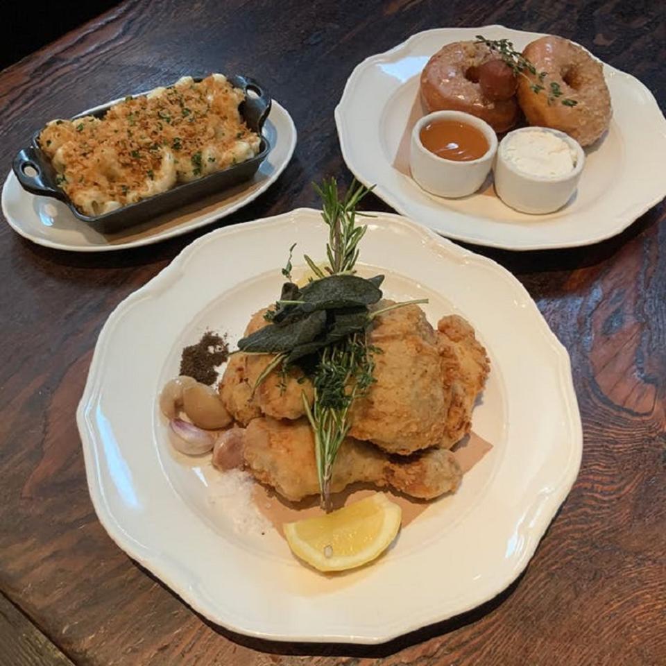Fried chicken dinner from Wayfare Tavern