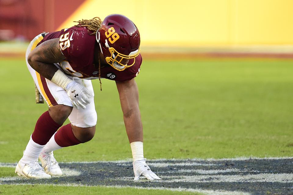 Chase Young #99 of the Washington Football Team in action in the second half against the New York Giants at FedExField on November 08, 2020 in Landover, Maryland. (Photo by Patrick McDermott/Getty Images)